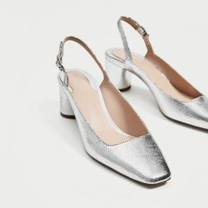 NWT ZARA SILVER SLING BACK COURT SHOES